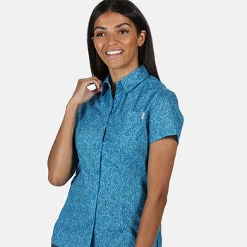 Honshu IV bedrucktes Kurzarmhemd für Damen Blau