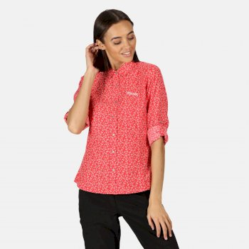Nimis II bedrucktes Langarmhemd für Damen Rot