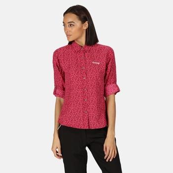 Nimis II bedrucktes Langarmhemd für Damen Rosa