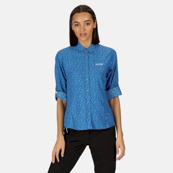 Nimis II bedrucktes Langarmhemd für Damen Blau