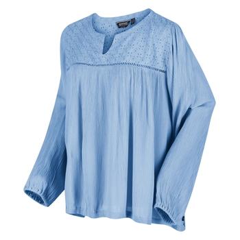 Calicta Langarmshirt mit Lochmusterstickerei für Damen Blau