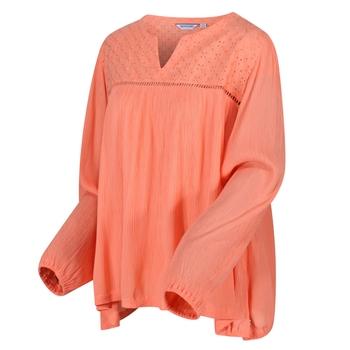 Calicta Langarmshirt mit Lochmusterstickerei für Damen Orange
