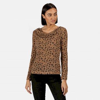 Kimberley Walsh Frayda Lightweight Cowl Neck Top - Leopard