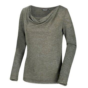 Frayda leichtes Wollshirt für Damen dunkles Khaki