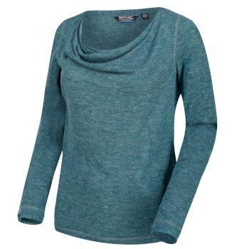 Frayda leichtes Wollshirt für Damen sattes Blaugrün