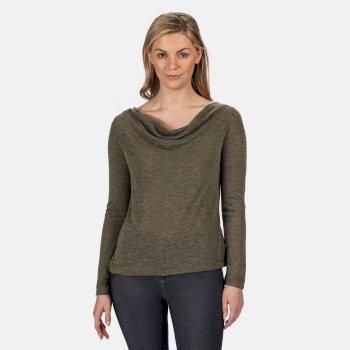 Frayda leichtes Wollshirt für Damen Grün