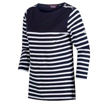 Pandara langärmeliges Damen-T-Shirt navy-gestreift