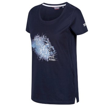 Filandra III T-Shirt für Damen mit Print Live Free navy-silber