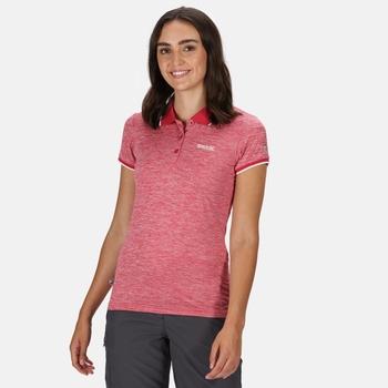 Remex II Damen-T-Shirt mit Polokragen Dunkel Kirschrot