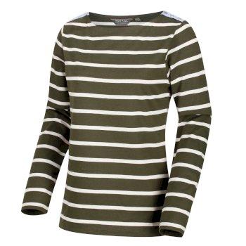 Flordelis - Damen Langarmshirt - gestreift dunkles Khaki/Vanille