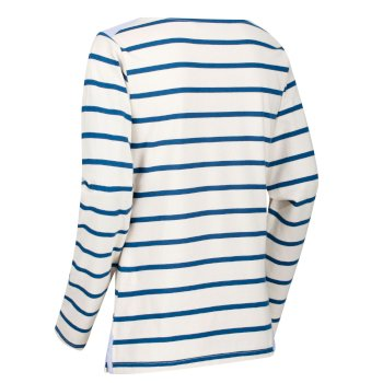Flordelis - Damen Langarmshirt - gestreift Vanille/Opalblau