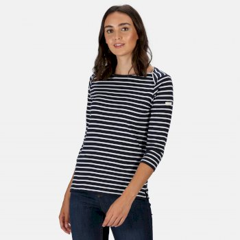 Kimberley Walsh Polina Printed Long Sleeved T-Shirt - Navy Stripe