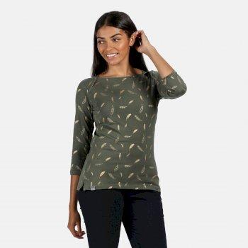 Polina bedrucktes Langarmshirt für Damen Grün