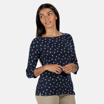 Polina bedrucktes Langarmshirt für Damen Blau