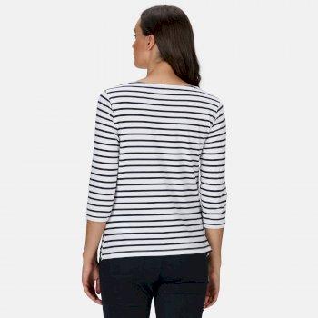 Polina bedrucktes Langarmshirt für Damen Weiß