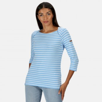 Kimberley Walsh Polina Printed Long Sleeved T-Shirt - Blue Skies Stripe