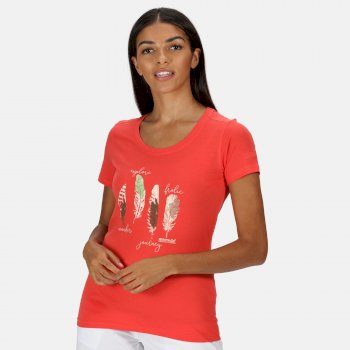 Regatta Women's Filandra IV Graphic T-Shirt - Red Sky Feather Print