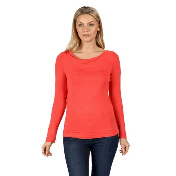 Frayler Langarmshirt für Damen Rot