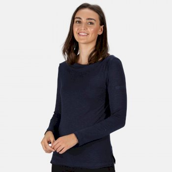 Regatta Women's Frayler Long Sleeved T-Shirt - Navy