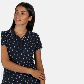 Faine II bedrucktes Polo-Shirt für Damen Blau