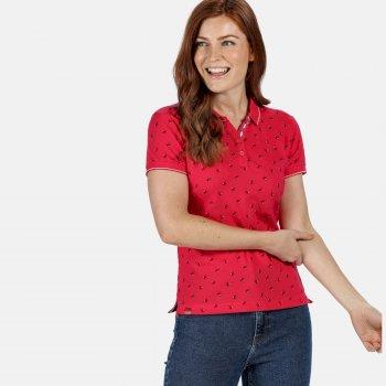 Faine II bedrucktes Polo-Shirt für Damen Rosa