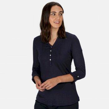 Fflur Langarmshirt mit halber Knopfleiste für Damen Blau