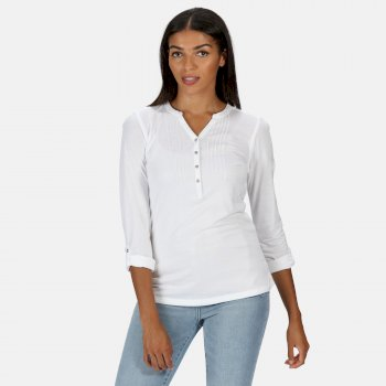 Regatta Women's Fflur Long Sleeved Half Button Top - White