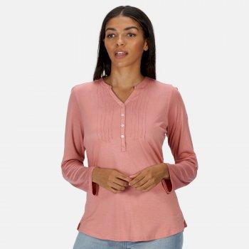 Fflur Langarmshirt mit halber Knopfleiste für Damen Rosa