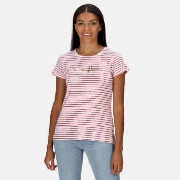 Kimberley Walsh Olwyn Striped Carpe Diem T-Shirt - True Red