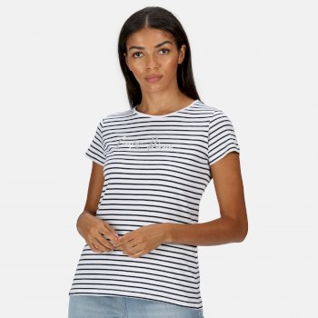 Kimberley Walsh Olwyn Striped Carpe Diem T-Shirt - Navy