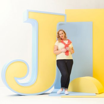 Josie Gibson Olwyn Striped Carpe Diem T-Shirt - Yellow Sulphur