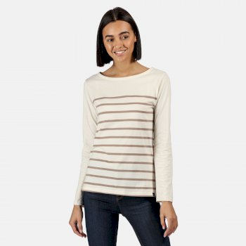 Kimberley Walsh Ferelith Striped Long Sleeved T-Shirt - Light Vanilla