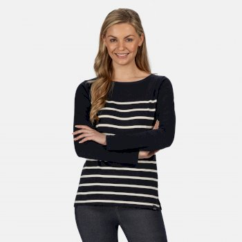 Kimberley Walsh Ferelith Striped Long Sleeved T-Shirt - Navy