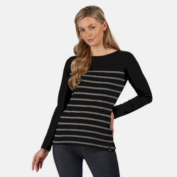 Kimberley Walsh Ferelith Striped Long Sleeved T-Shirt - Black