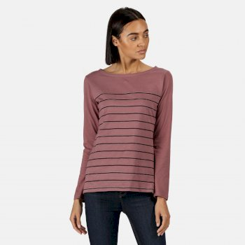 Kimberley Walsh Ferelith Striped Long Sleeved T-Shirt - Dusky Heather