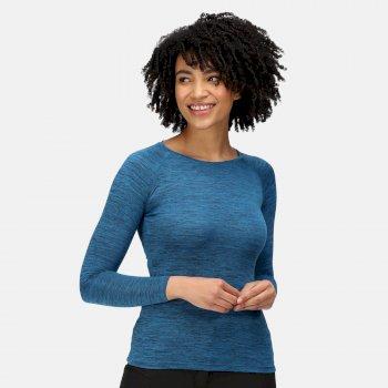 Burlow meliertes Langarmshirt für Damen Blau