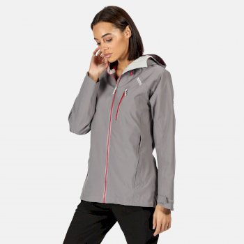 Kimberley Walsh Birchdale Waterproof Hooded Walking Jacket - Rock Grey Dark Cerise