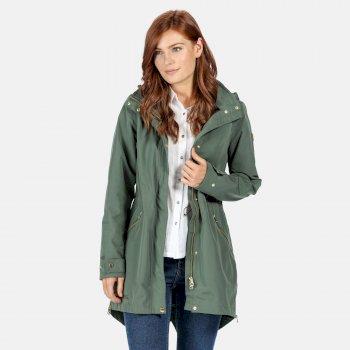 Alerie langgeschnittene, wasserdichte Jacke für Damen Grün