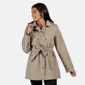Garbo langgeschnittene wasserdichte Jacke für Damen Braun