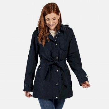 Garbo langgeschnittene wasserdichte Jacke für Damen Blau