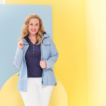 Josie Gibson Bertille Lightweight Hooded Waterproof Jacket - Chambray