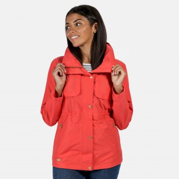 Kimberley Walsh Narelle Lightweight Waterproof Funnel Neck Jacket - Red Sky