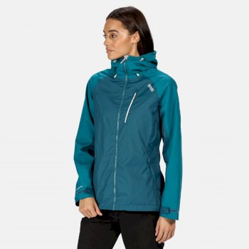 Regatta Women's Highton Stretch Waterproof Hooded Walking Jacket - Sea Blue Ocean Depths