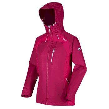 Highton Stretch II wasserdichte Walkingjacke mit Kapuze für Damen Rosa