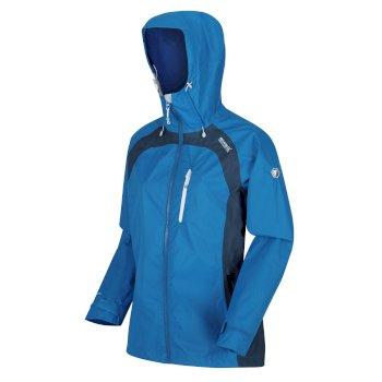 Highton Stretch II wasserdichte Walkingjacke mit Kapuze für Damen Blau