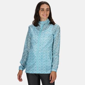 Regatta Women's Printed Pack-It Lightweight Waterproof Jacket - Cool Aqua Edelweiss