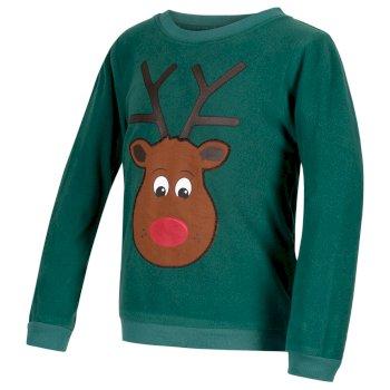 Regatta Kids Carew Crew Neck Christmas Sweater Bottle Green