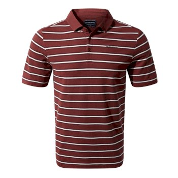 Craghoppers Geraldton Short Sleeved Polo Red Earth Stripe