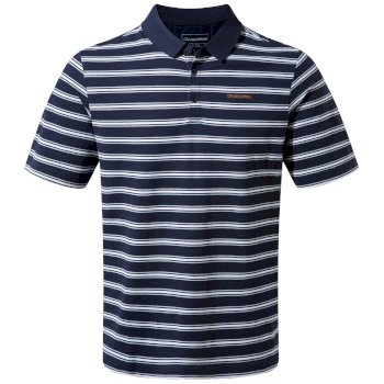 Craghoppers Geraldton Short Sleeved Polo Blue Navy Stripe