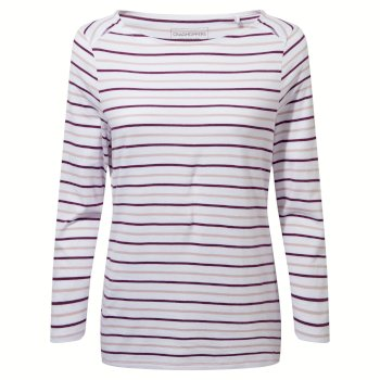 Craghoppers Blanca Long Sleeved Top - Blackcurrant / Brushed Lilac Stripe